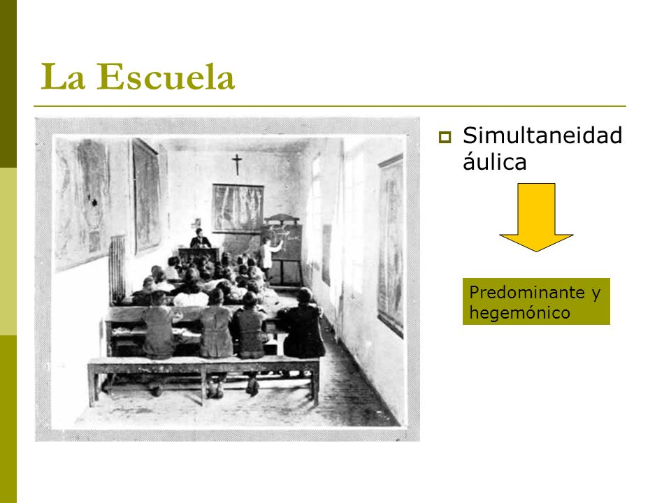 La Escuela Simultaneidad áulica Predominante y hegemónico