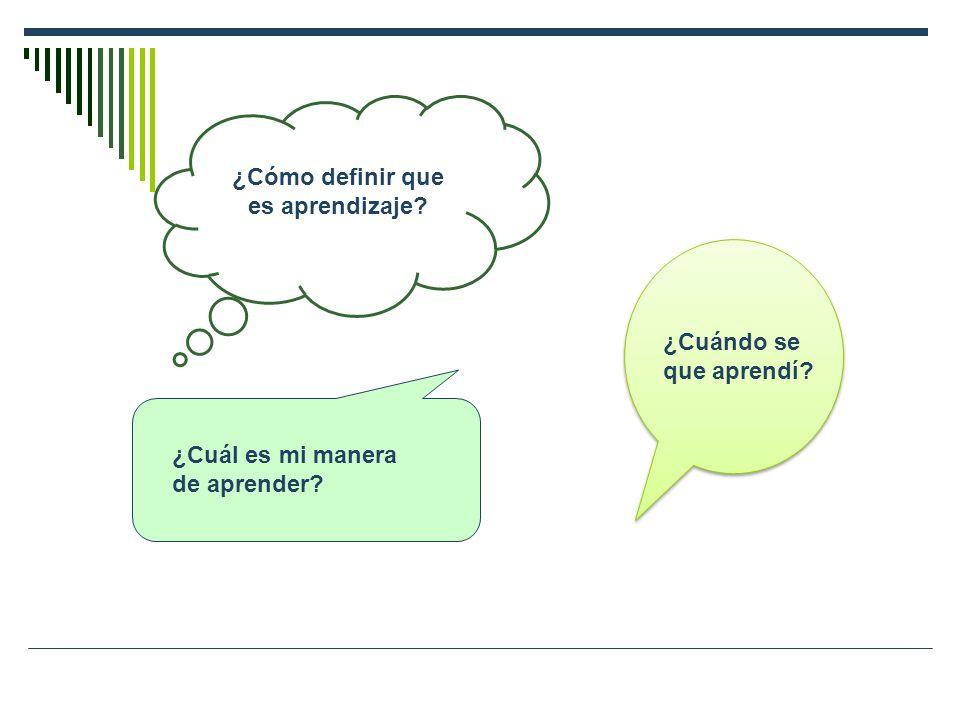 ¿Cómo definir que es aprendizaje