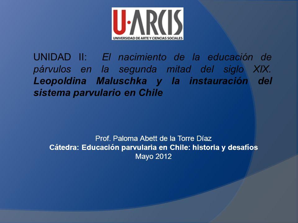 UNIDAD II: El nacimiento de la educación de párvulos en la segunda mitad del siglo XIX. Leopoldina Maluschka y la instauración del sistema parvulario en Chile