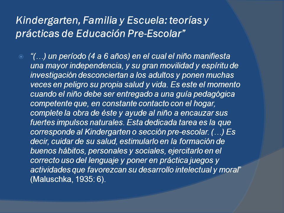 Kindergarten, Familia y Escuela: teorías y prácticas de Educación Pre-Escolar