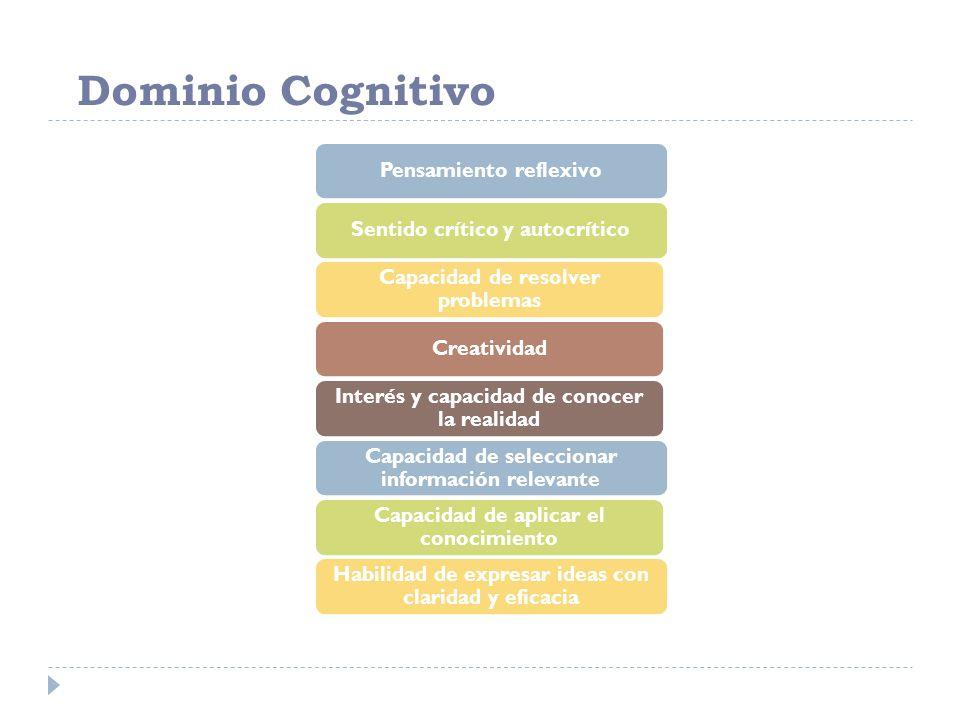 Dominio Cognitivo Pensamiento reflexivo Sentido crítico y autocrítico