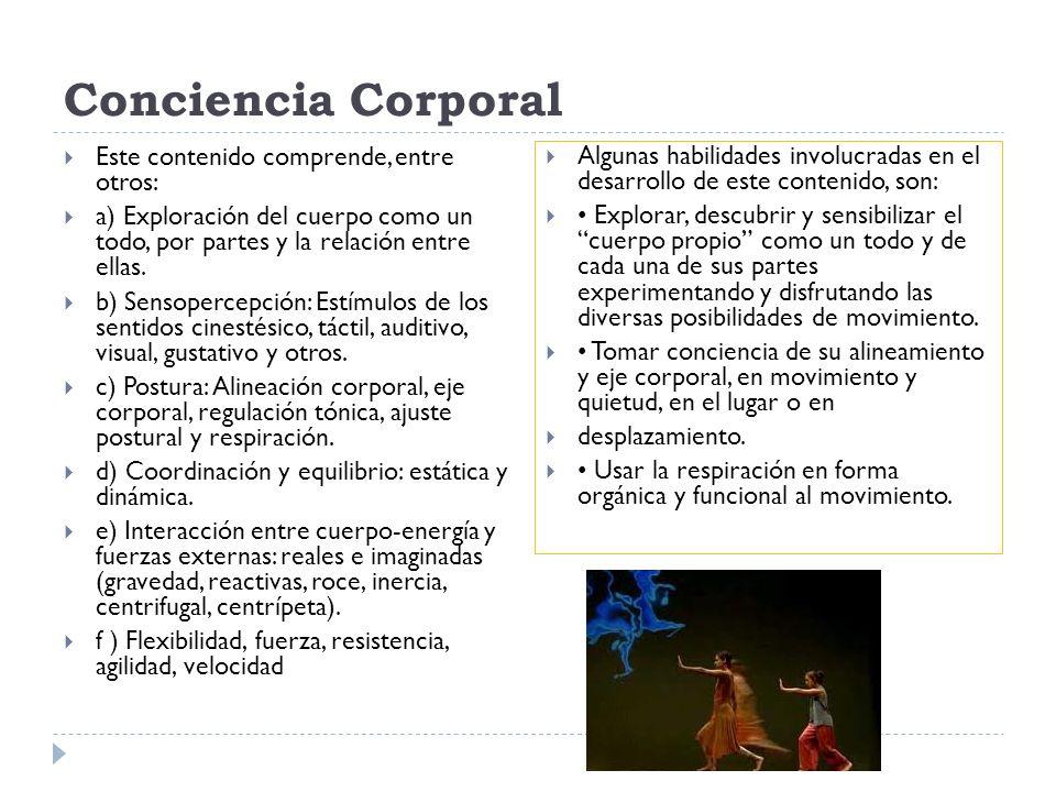 Conciencia Corporal Este contenido comprende, entre otros: