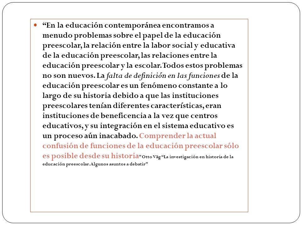 En la educación contemporánea encontramos a menudo problemas sobre el papel de la educación preescolar, la relación entre la labor social y educativa de la educación preescolar, las relaciones entre la educación preescolar y la escolar.