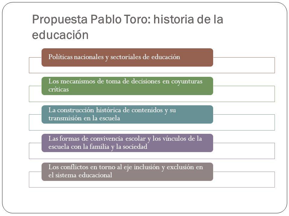 Propuesta Pablo Toro: historia de la educación