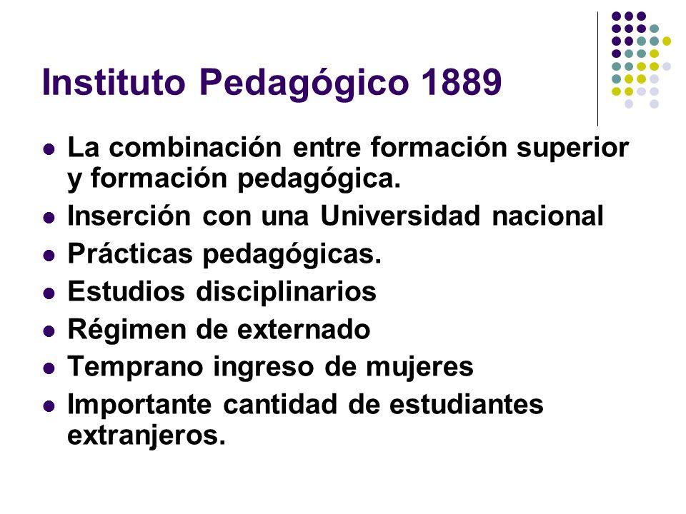 Instituto Pedagógico 1889 La combinación entre formación superior y formación pedagógica. Inserción con una Universidad nacional.