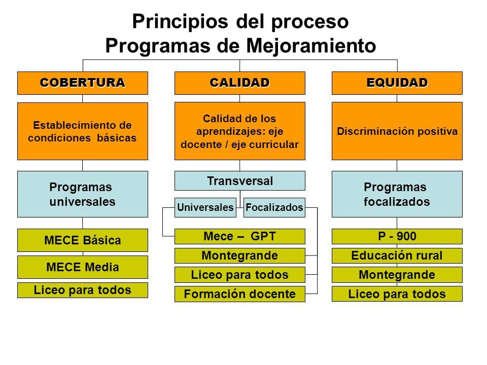 Principios del proceso Programas de Mejoramiento