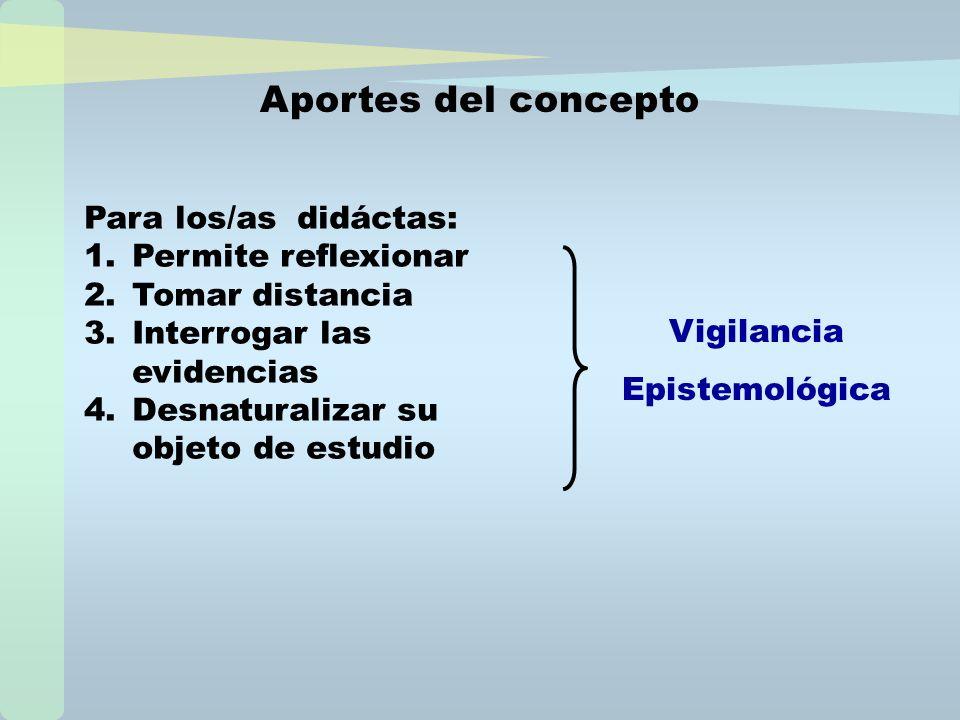 Aportes del concepto Para los/as didáctas: Permite reflexionar