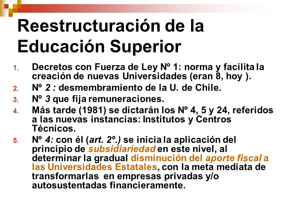 Reestructuración de la Educación Superior