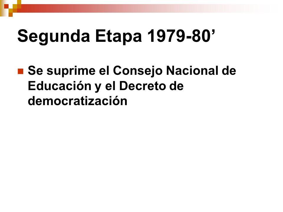 Segunda Etapa 1979-80' Se suprime el Consejo Nacional de Educación y el Decreto de democratización