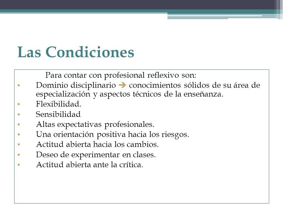 Las Condiciones Para contar con profesional reflexivo son: