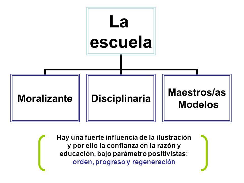 Hay una fuerte influencia de la ilustración y por ello la confianza en la razón y educación, bajo parámetro positivistas: orden, progreso y regeneración