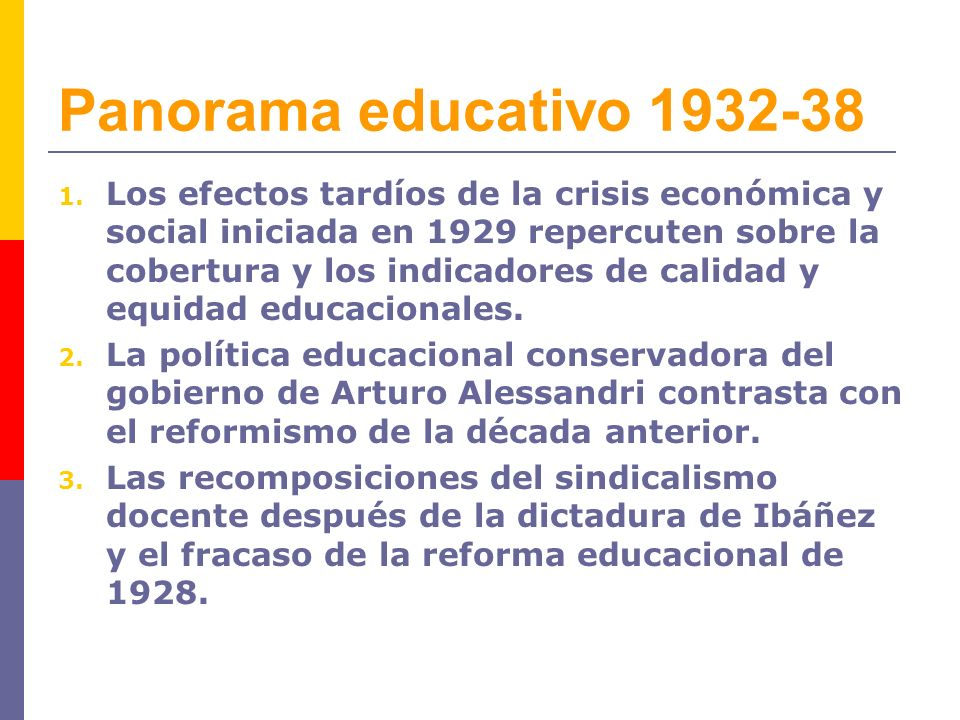 Panorama educativo 1932-38