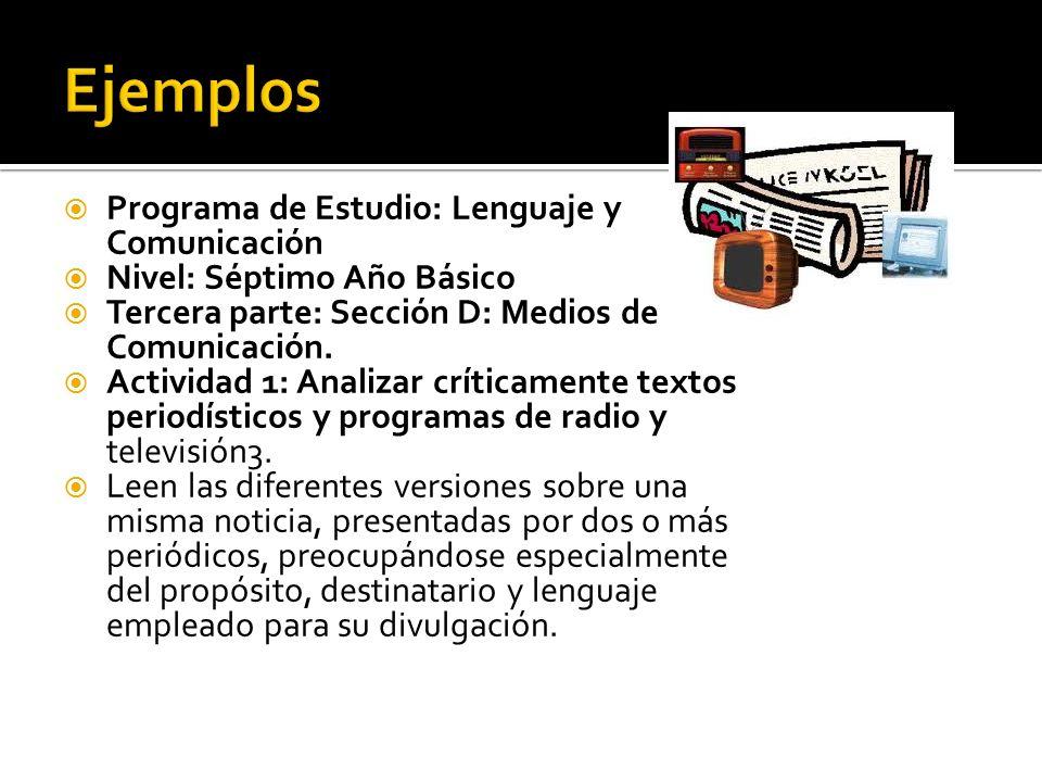 Ejemplos Programa de Estudio: Lenguaje y Comunicación