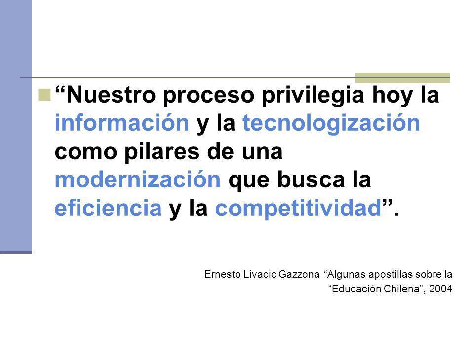 Nuestro proceso privilegia hoy la información y la tecnologización como pilares de una modernización que busca la eficiencia y la competitividad .