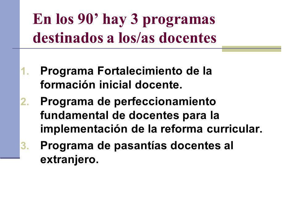 En los 90' hay 3 programas destinados a los/as docentes