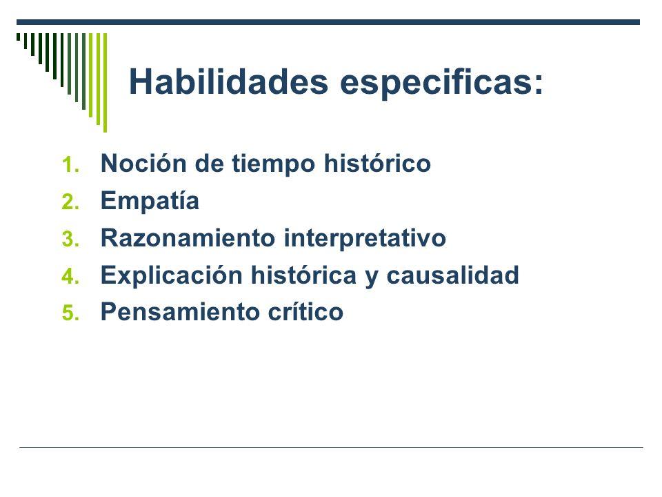 Habilidades especificas: