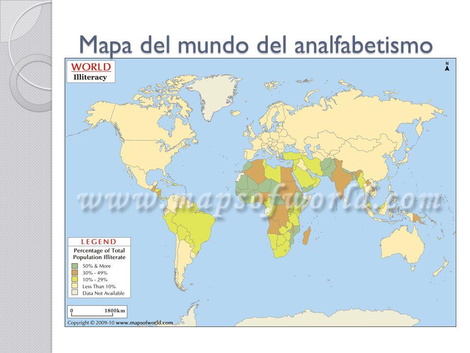 Mapa del mundo del analfabetismo