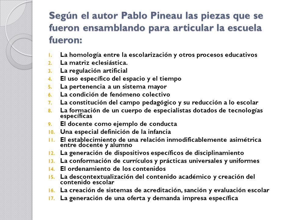 Según el autor Pablo Pineau las piezas que se fueron ensamblando para articular la escuela fueron: