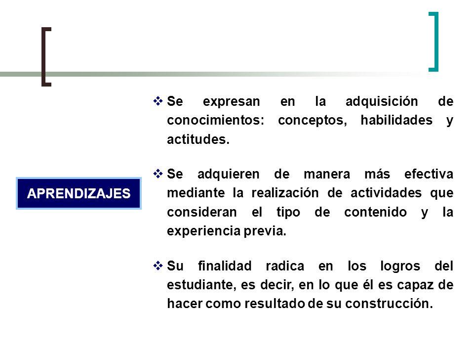 Se expresan en la adquisición de conocimientos: conceptos, habilidades y actitudes.