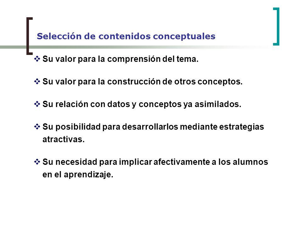 Selección de contenidos conceptuales