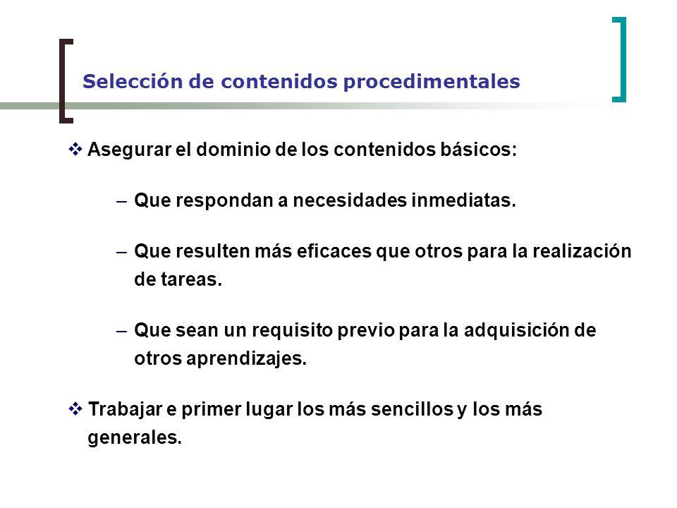 Selección de contenidos procedimentales