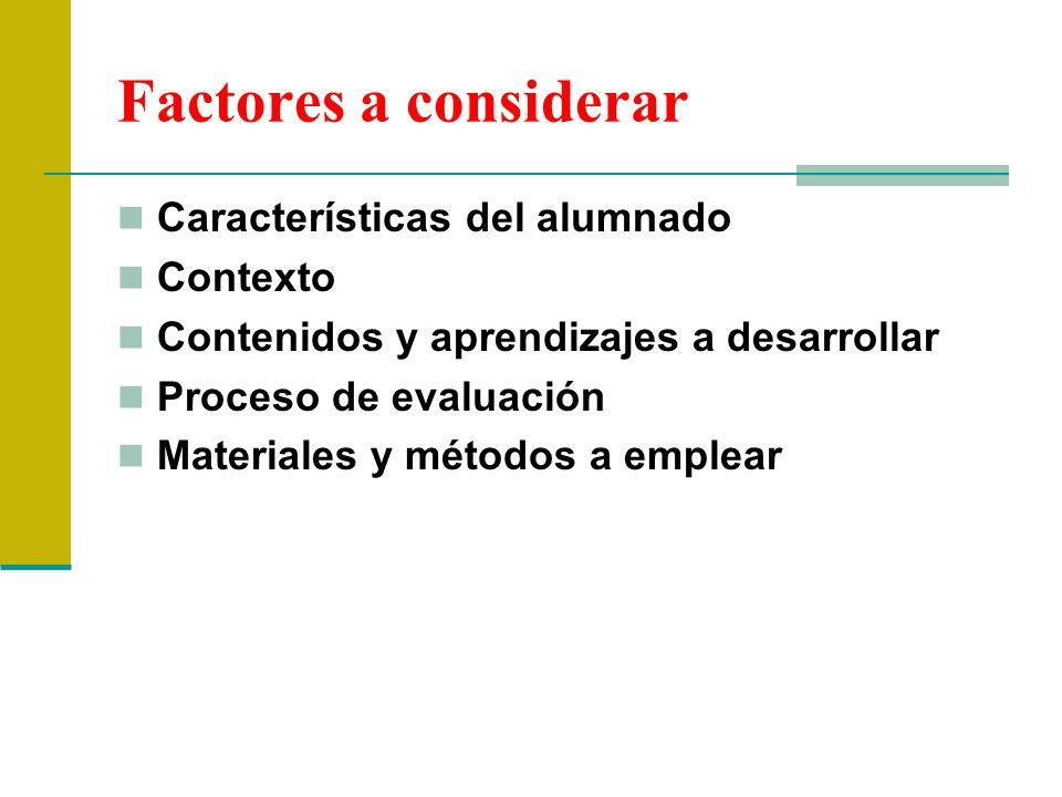 Factores a considerar Características del alumnado Contexto
