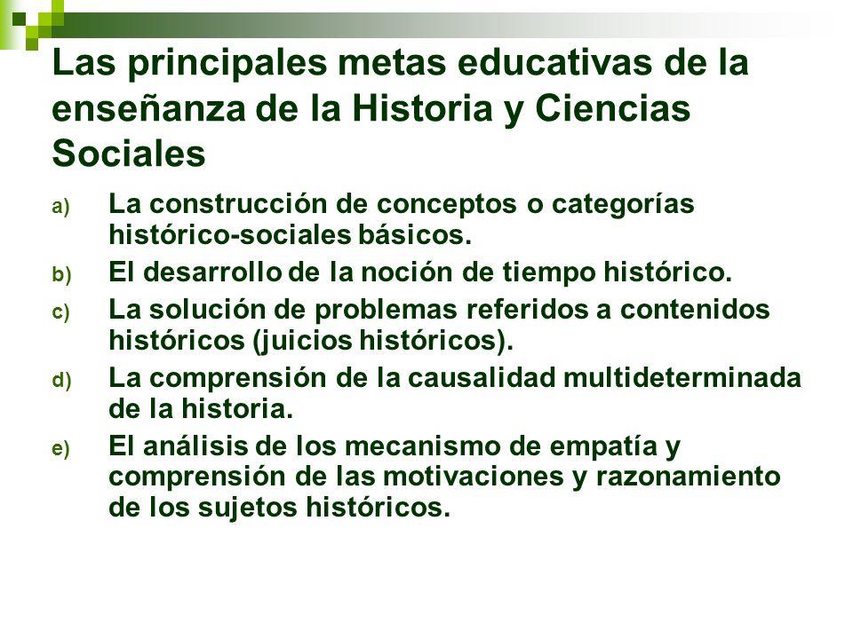 Las principales metas educativas de la enseñanza de la Historia y Ciencias Sociales