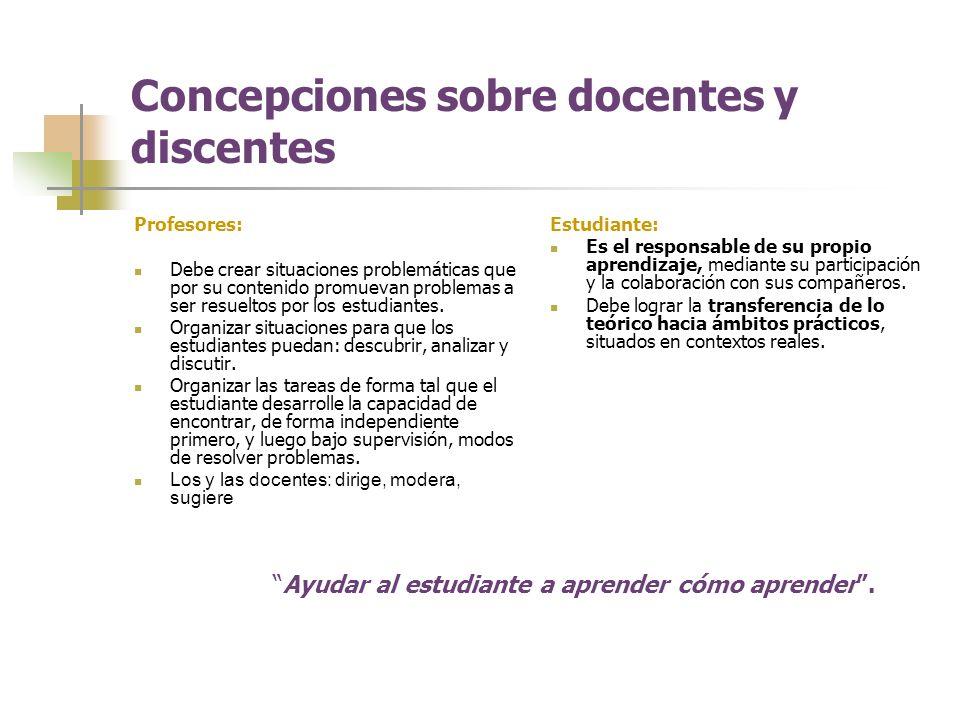Concepciones sobre docentes y discentes
