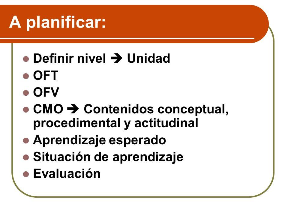 A planificar: Definir nivel  Unidad OFT OFV