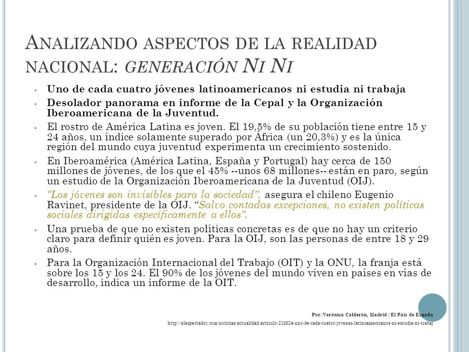 Analizando aspectos de la realidad nacional: generación Ni Ni