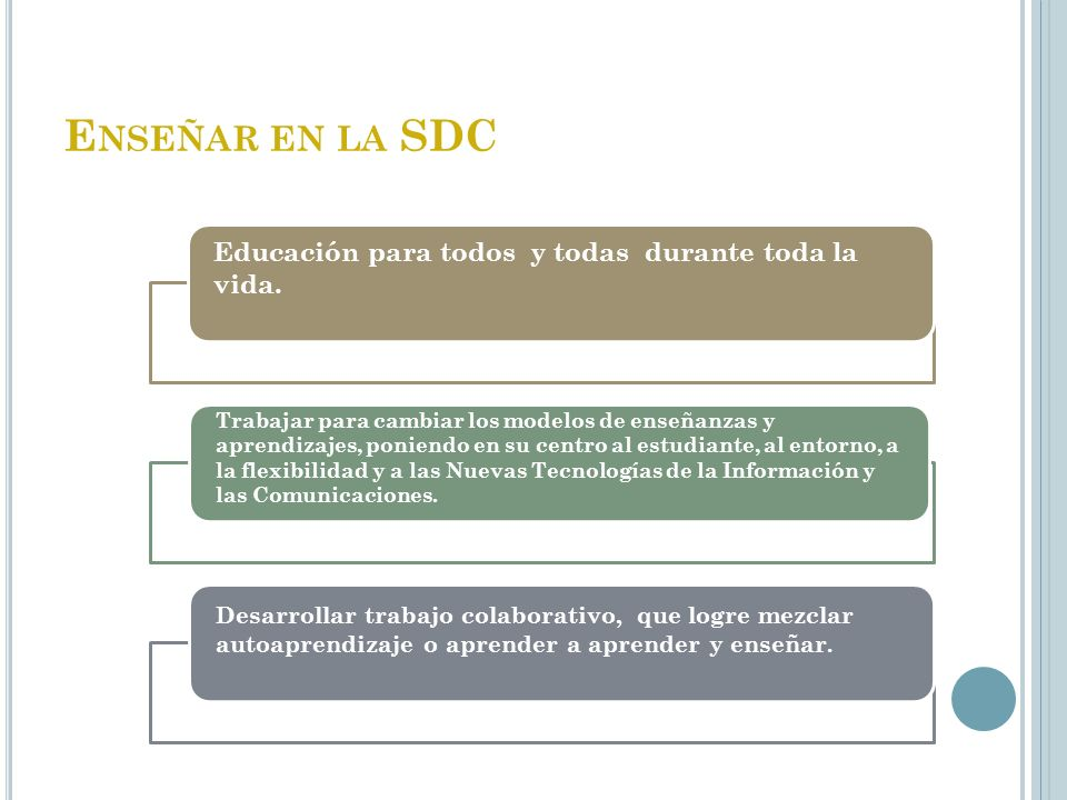 Enseñar en la SDC Educación para todos y todas durante toda la vida.