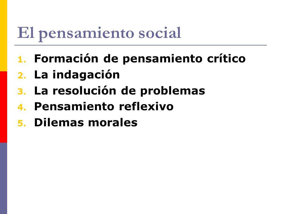 El pensamiento social Formación de pensamiento crítico La indagación