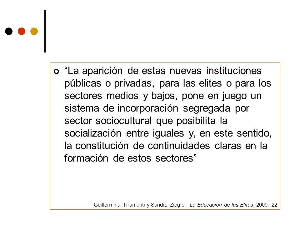 La aparición de estas nuevas instituciones públicas o privadas, para las elites o para los sectores medios y bajos, pone en juego un sistema de incorporación segregada por sector sociocultural que posibilita la socialización entre iguales y, en este sentido, la constitución de continuidades claras en la formación de estos sectores