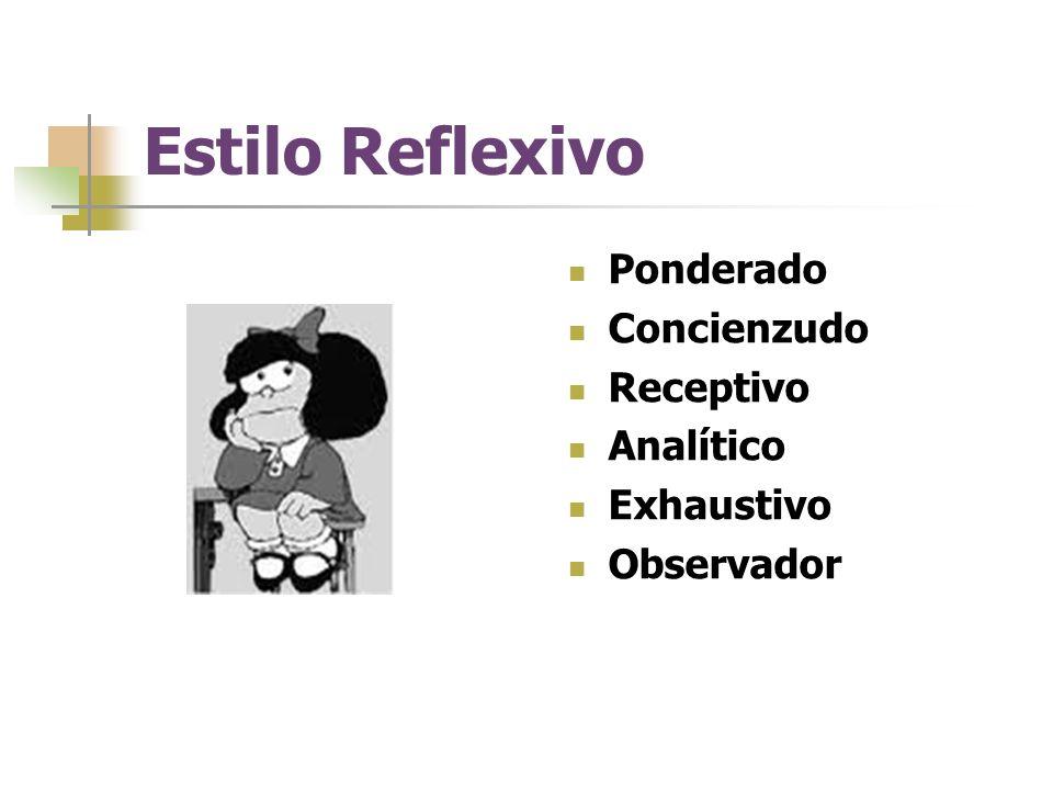 Estilo Reflexivo Ponderado Concienzudo Receptivo Analítico Exhaustivo