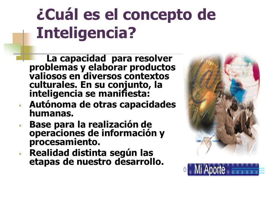 ¿Cuál es el concepto de Inteligencia