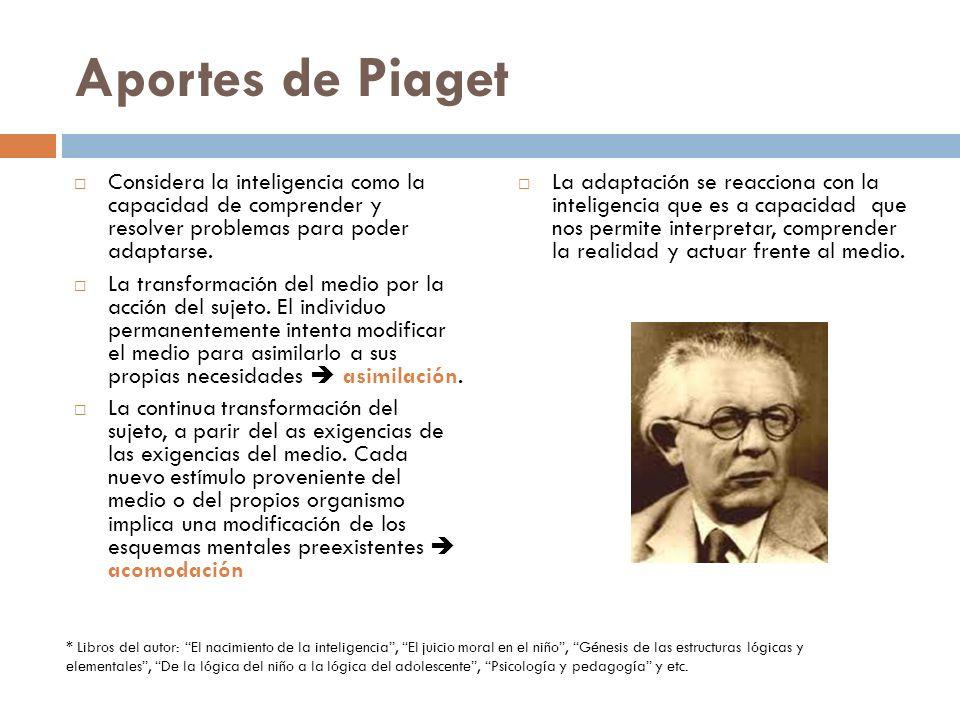 Aportes de Piaget Considera la inteligencia como la capacidad de comprender y resolver problemas para poder adaptarse.