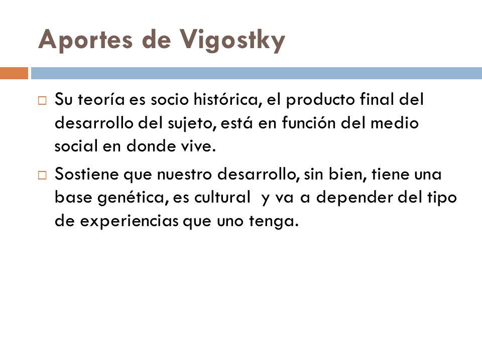 Aportes de Vigostky Su teoría es socio histórica, el producto final del desarrollo del sujeto, está en función del medio social en donde vive.