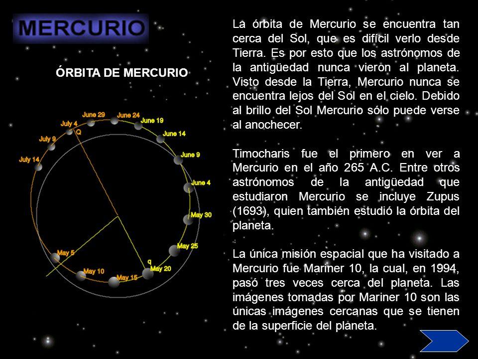 La órbita de Mercurio se encuentra tan cerca del Sol, que es difícil verlo desde Tierra. Es por esto que los astrónomos de la antigüedad nunca vieron al planeta. Visto desde la Tierra, Mercurio nunca se encuentra lejos del Sol en el cielo. Debido al brillo del Sol Mercurio sólo puede verse al anochecer.
