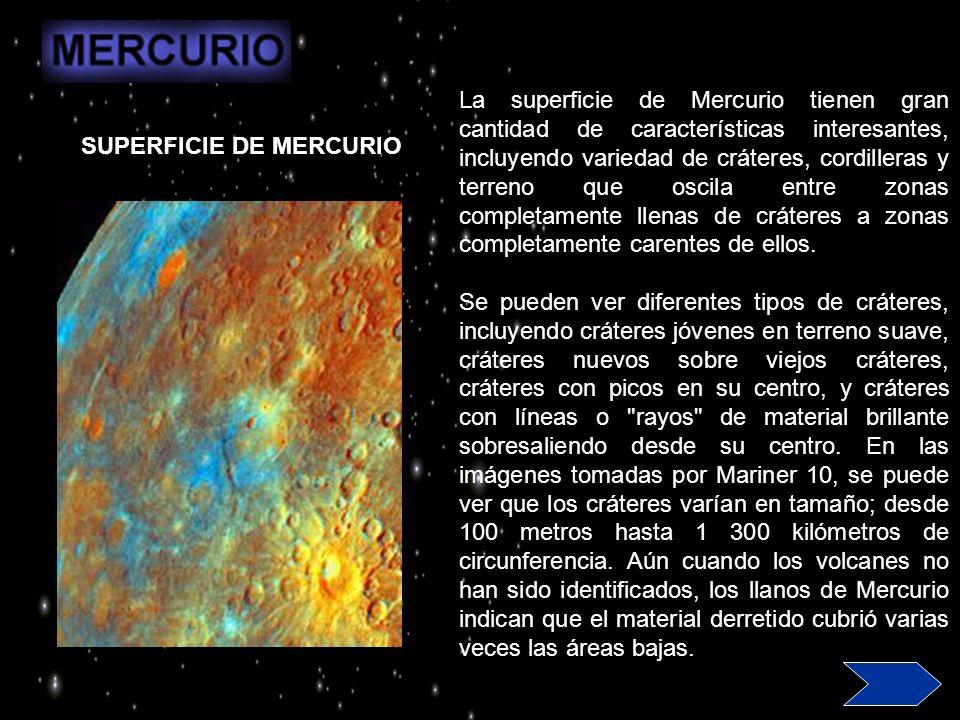 La superficie de Mercurio tienen gran cantidad de características interesantes, incluyendo variedad de cráteres, cordilleras y terreno que oscila entre zonas completamente llenas de cráteres a zonas completamente carentes de ellos.