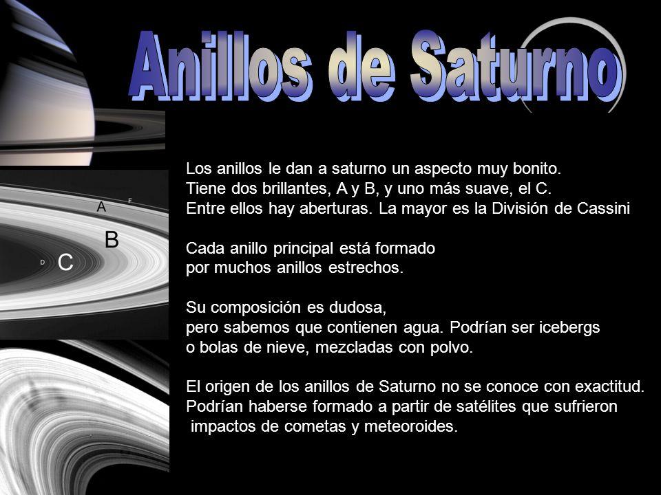 Anillos de Saturno Los anillos le dan a saturno un aspecto muy bonito.