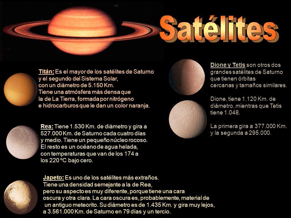 Satélites Dione y Tetis son otros dos grandes satélites de Saturno
