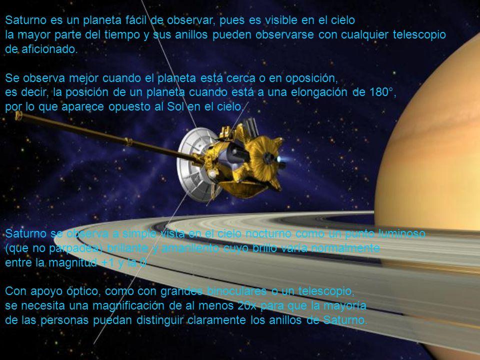 Saturno es un planeta fácil de observar, pues es visible en el cielo