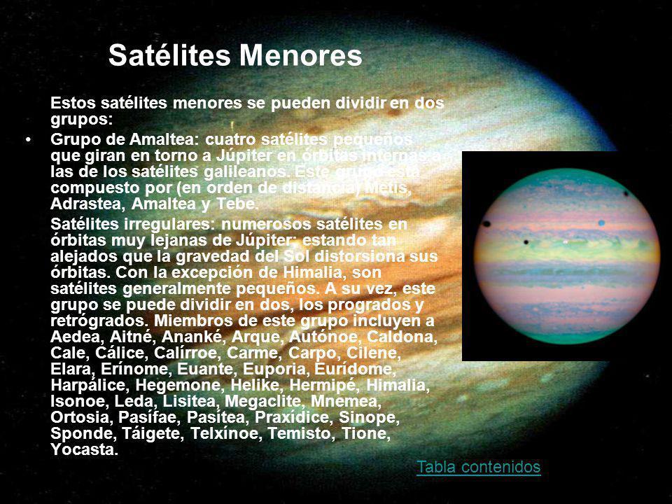 Satélites Menores Estos satélites menores se pueden dividir en dos grupos: