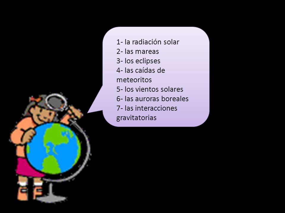 1- la radiación solar 2- las mareas. 3- los eclipses. 4- las caídas de meteoritos. 5- los vientos solares.