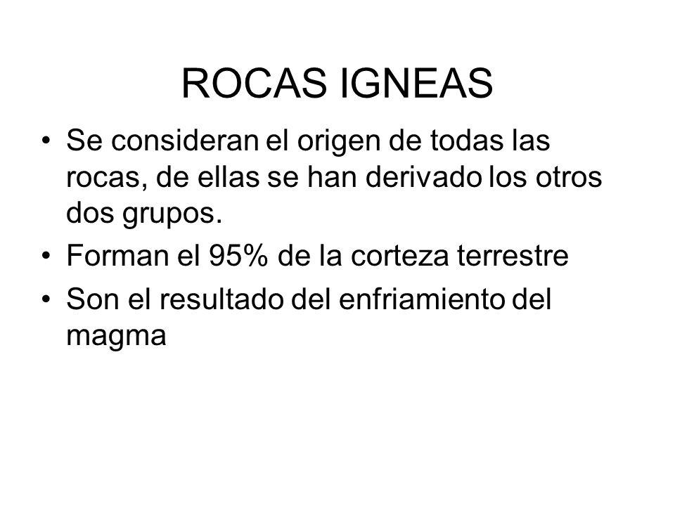 ROCAS IGNEAS Se consideran el origen de todas las rocas, de ellas se han derivado los otros dos grupos.