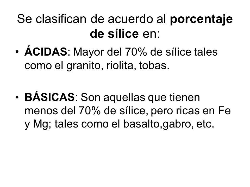 Se clasifican de acuerdo al porcentaje de sílice en: