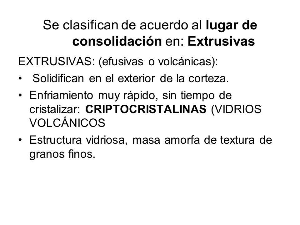 Se clasifican de acuerdo al lugar de consolidación en: Extrusivas