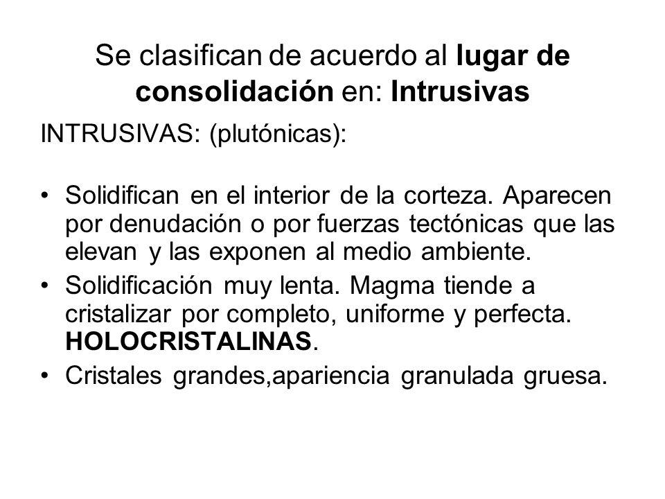 Se clasifican de acuerdo al lugar de consolidación en: Intrusivas