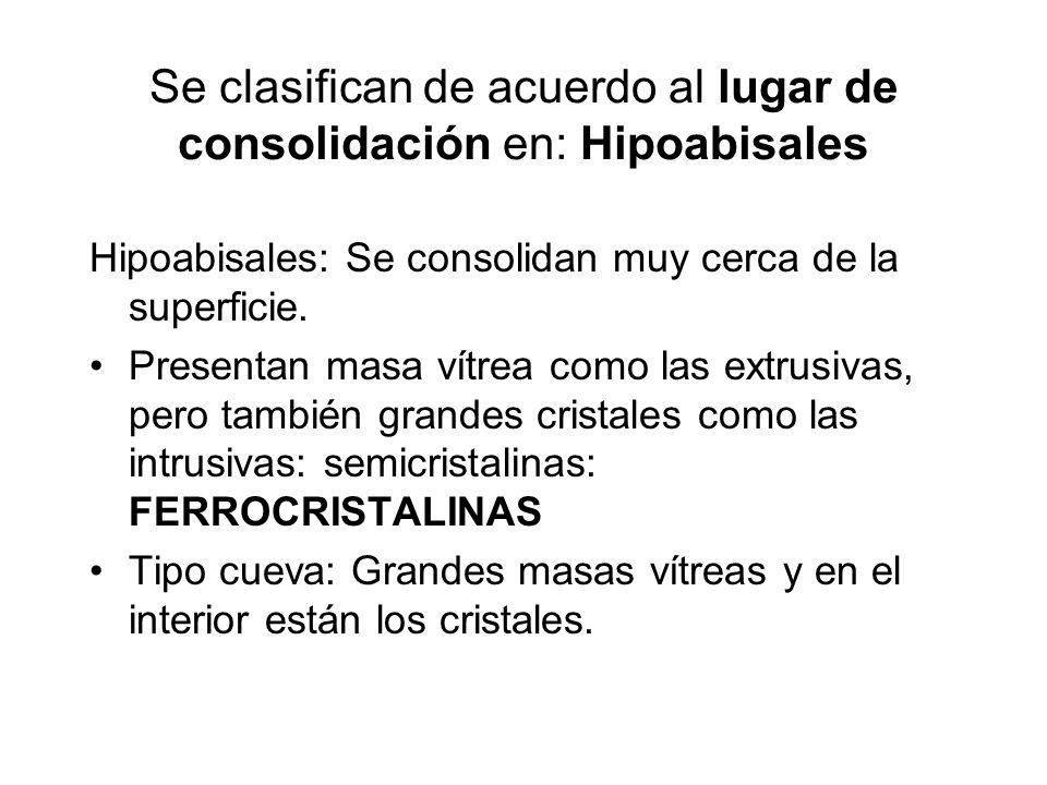 Se clasifican de acuerdo al lugar de consolidación en: Hipoabisales