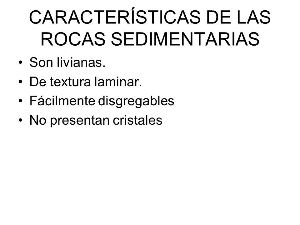 CARACTERÍSTICAS DE LAS ROCAS SEDIMENTARIAS